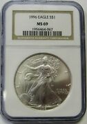 1996 Silver Eagle Graded Ngc Ms69 Nearly Flawless Coin Priced Right 4067