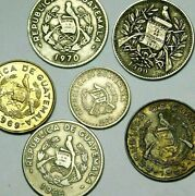 Guatemala  Six Old Coins Of Guatemala One Real 1900 , 1960s- 1970  55-164
