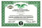 Young Americans For Freedom 1985 Yaf Certificate Of Appreciation For Support