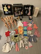 Vintage 1958 Barbie Doll 2 And Two 1962 Ponytail Doll Case 4 Wigs And Accessories