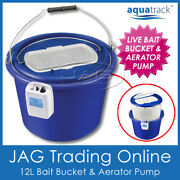 Aquatrack 12l Live Bait Bucket And Aerator Fishing Air Pump 2-speed 150 Hrs 3-in-1