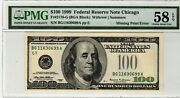 1999 100 Chicago Federal Reserve Note Missing Treasury Seal Error Pmg 58 Epq