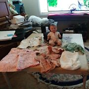 Vintage Antique Lot 9 Clothes And Jointed Composition Doll Estate Sale Find