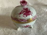 Herend Footed Bonbon With Lid And Rose Finial Raspberry Chinese Bouquet