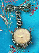 Bucherer Ball Watch Clock With Bow Pin Brooch Pendant Marcasites C1900 Silver