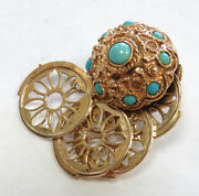 Vintage 18k Yellow Gold 30 Grams 4 Frame Jeweled Turquoise Ball Charm / Pendant