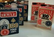 Two Bicycle Brand 100 Count Boxes. Three Hoyle 100 Count Boxes 500 Poker Chips.