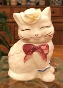 Vintage Puss N Boots Cat Cookie Jar. Circa 1940s. Free Shipping
