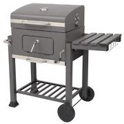 Bbq Grill Charcoal Portable Wheels Thermometer Smoker Outdoor Barbecue Cooker