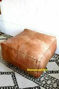 Xtra Large Square Leather Footstool Cube Moroccan Pouf Ottoman Large Hassock