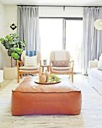 Xlarge Square Leather Footstool Table Moroccan Pouf Ottoman Square Large