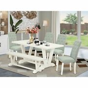 East West Furniture 6-pc Dining Room Set- 4 Padded Parson Chairs With Baby Bl...