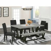 East West Furniture 6-pc Kitchen Table Set-black Linen Fabric Seat And High S...
