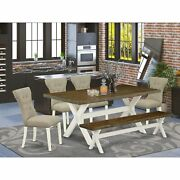 East West Furniture 6-pc Dining Table Set- 4 Parson Dining Chairs With Doeski...