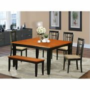 Pfni6-bch-c 6 Pc Dining Room Set With Bench-dining Table And 4 Wood Dining Ch...