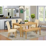 Caba6-oak-02 6pc Dining Room Table With Linen Beige Fabric Parson Chairs Plus...