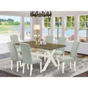 East West Furniture X076ce215-7 7-pc Modern Dining Set- 6 Parson Chairs With ...