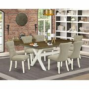 East West Furniture 7-pc Dining Room Set- 6 Parson Dining Chairs With Doeskin...