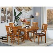 Avon7-sbr-lc 7 Pcavon Table With Leaf And 6padded Leather Chairs.