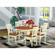 Avon7-whi-w 7 Pc Dinette Table With Leaf And 6 Wood Seat Chairs In Buttermilk...