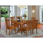 Avpo7-sbr-w 7 Pc Set Avon Dinette Table With Leaf And 6 Wood Kitchen Chairs I...