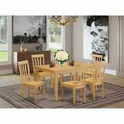 Caan7-oak-w 7 Pc Kitchen Table Set - Kitchen Dinette Table And 6 Kitchen Chairs