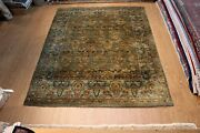 8and039 X 10and039 Fine Quality Handmade Wool Hand Knotted Teal Blue Green Carpet