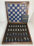 1983 Franklin Mint National Historical Society Pewter Civil War Chess Set W/ Coa