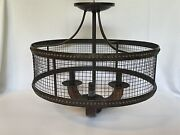 """Frankton Industrial 16"""" Wide Bronze Ceiling Light Discontinued"""