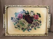Floral Hand Painted Wood Tray Gold Flowers 24 X 16 Wall Hanging Tole Table Top