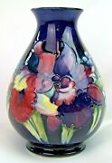 Stunning Moorcroft Orchid Tall Vase 1950and039s. Made In England