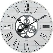 Black And Aged White Oversized Wall Clock Gears Rough Wood Industrial Rustic Chic