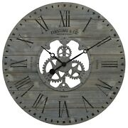 Gray Analog Oversized Wall Clock Gears Rough Wood Industrial Rustic Chic Shiplap