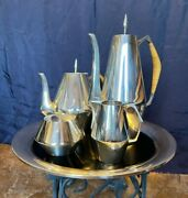 The Diamond Reed And Barton Coffee And Tea Service + Lucite Tray 5pc Sterling Silver