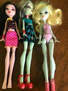 Mattel Monster High Doll Lot Of 3 Budget Basic Dolls Clothes Shoes