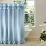 New French Country Cottage White Blue Checked Ruffled Shower Curtain 72