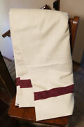 Wwii Us Army White Wool Medical Blanket 1940 With Burgundy Stripes No. 2