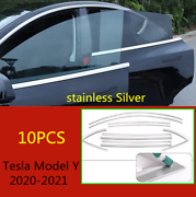 Stainless Silver For 2020-2021 Tesla Model Y Car Window Strip Cover Trim Kit 10x