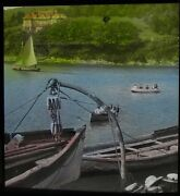 Tinted Glass Magic Lantern Slide On The River Yealm No2 Dated 1919 Photo Devon