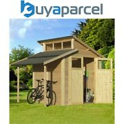 Rowlinson 7x10 Wooden Skylight Garden Shed + Lean To Storage Natural
