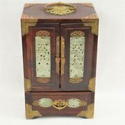 Vintage Chinese Rosewood And Brass Jewelry Box W/carved Nephrlite Jade Medallions