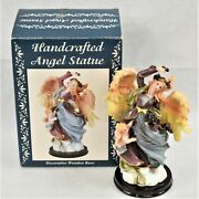 Hand Crafted Angel Statue With Decorative Wooden Base Preowned