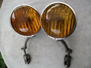 1920and039s-early 1930and039s 7 Top Of The Line Catand039s Eye Pre-war Fog Lights W/ Brackets