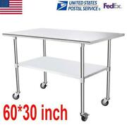 30 X 60 Stainless Steel Commercial Hotel Kitchen Work Food Prep Table W/ Wheels