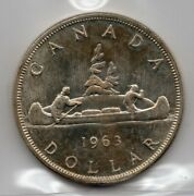1963 Canada One Silver Dollar - Iccs Ms-64 Heavy Cameo