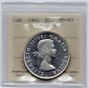 1963 Canada One Silver Dollar - Iccs Ms-63 Cameo