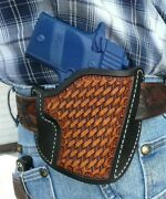 Leather Pancake Holster Sig Sauer P938 9mm Ruff's Basket Weave Black And Tan