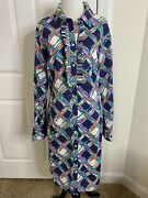 Women's Lily Pulitzer Roll Tab Sleeve Lined Cotton Shirt Dress •size 14 Euc