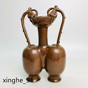 11.4song Dynasty Porcelain Ding Kiln Brown Conjoined Body Double Dragon Vase