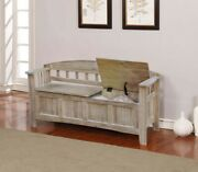 Solid Wood Storage Bench Modern Farmhouse Entryway Mudroom Seat Washed Finish